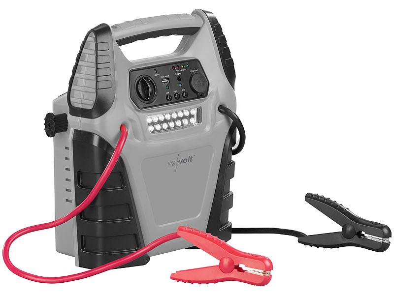 revolt 5in1-Starthilfe-Powerbank PB-145.kfz, Kompressor, 12V, 20 Ah, 1000A, 150 psi, www.pearl.de