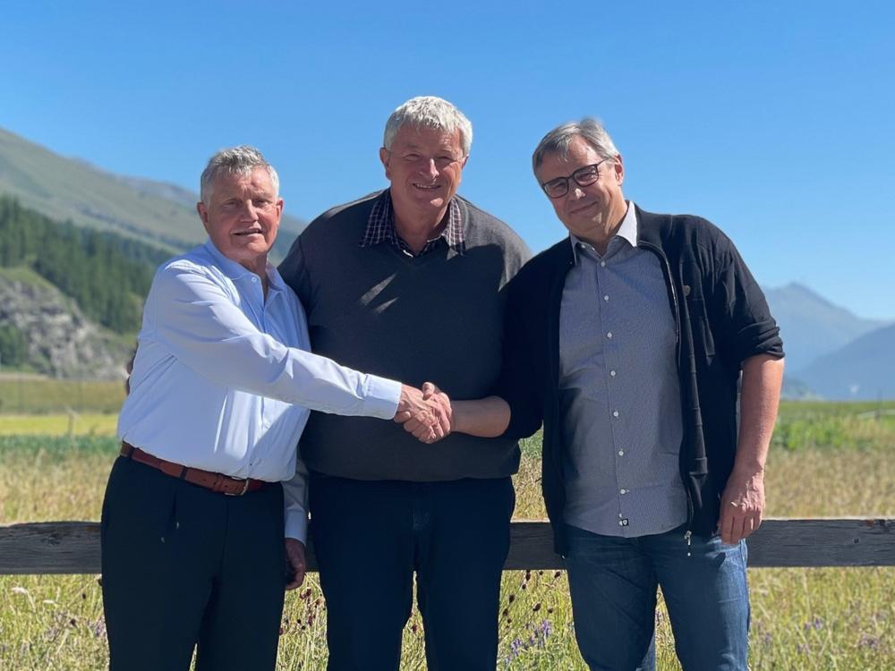 vlnr: Jürgen Kern, Verwaltungsrat; Andreas Danuser Präsident des Verwaltungsrats; Remo Viscardi, CEO