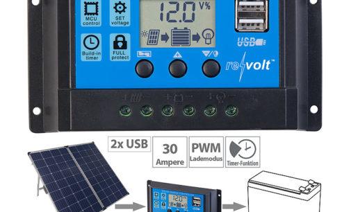 revolt Solar-Laderegler für 12/24-Volt-Akkus