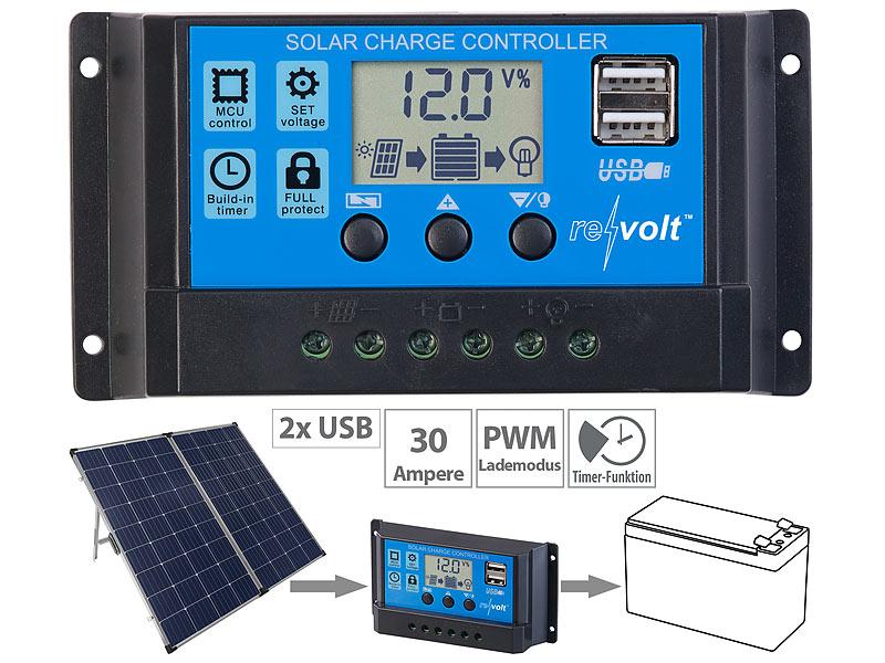 revolt Solar-Laderegler für 12/24-V-Akkus, PWM-Lademodus, 2 USB-Ports, 30 A, www.pearl.de