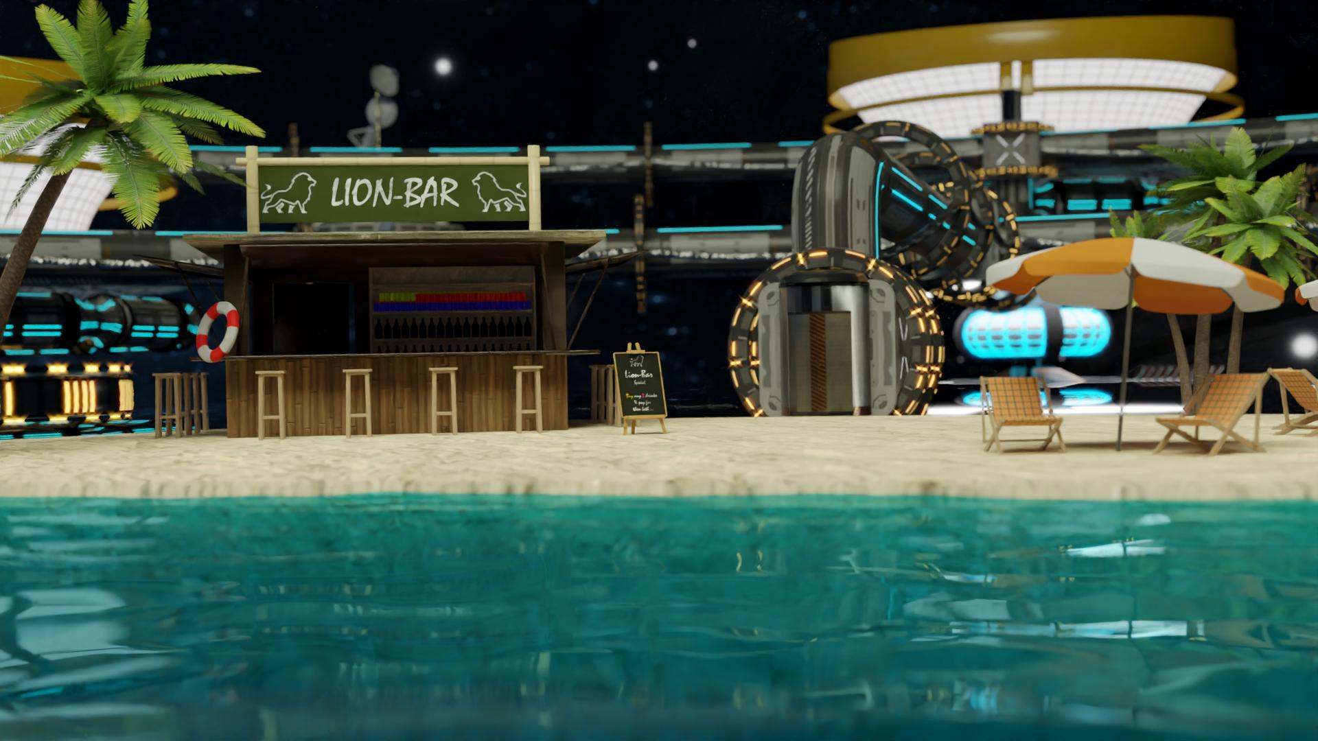 """Wartet schon auf Gäste: die virtuelle Beach Bar beim digitalen 3D IT Kongress """"ITSM Horizon"""""""