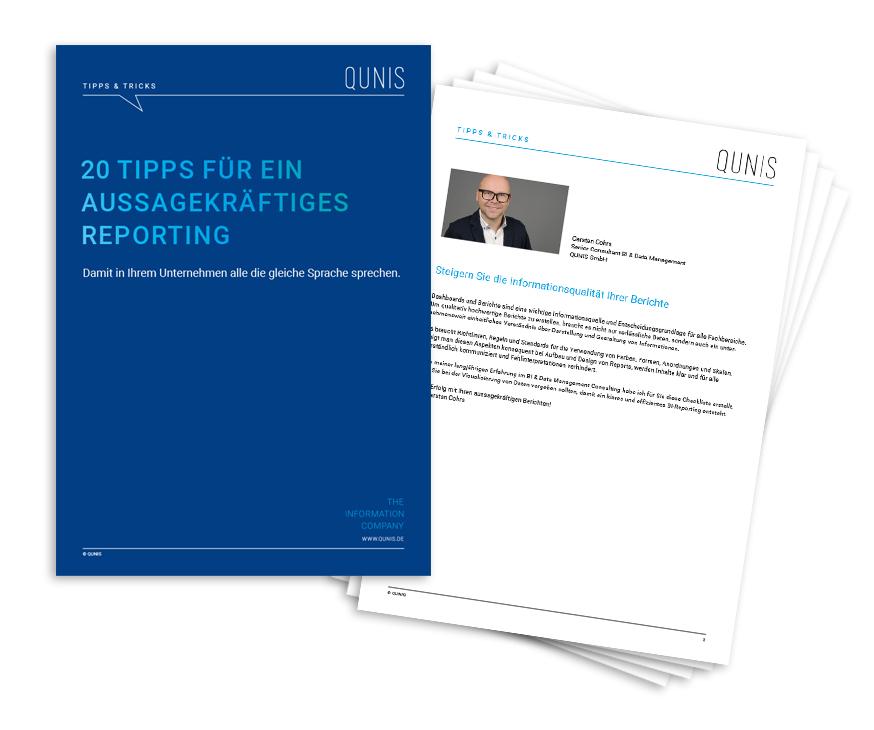 """QUNIS Checkliste """"20 Tipps für ein aussagekräftiges Reporting"""""""