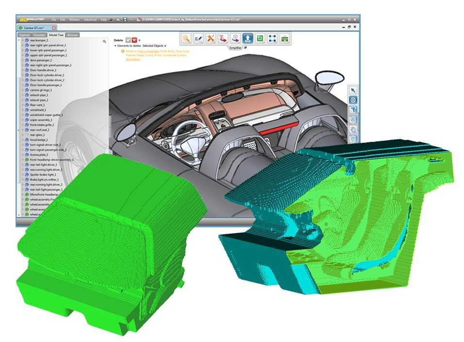 Ein mit dem Simplifier automatisch erzeugtes Innenvolumen einer PKW Fahrgastzelle