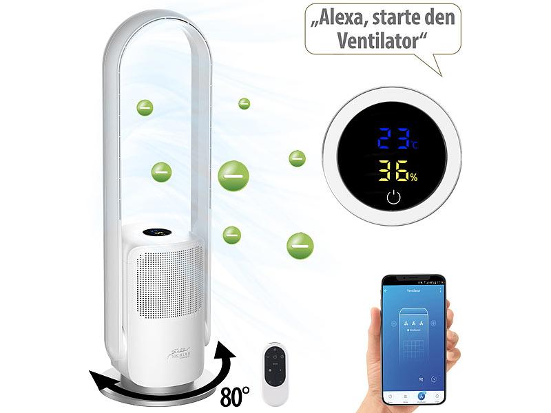 Sichler Haushaltsgeräte Rotorloser 2in1-360°-Ventilator & Luftreiniger VT-400.app, www.pearl.de